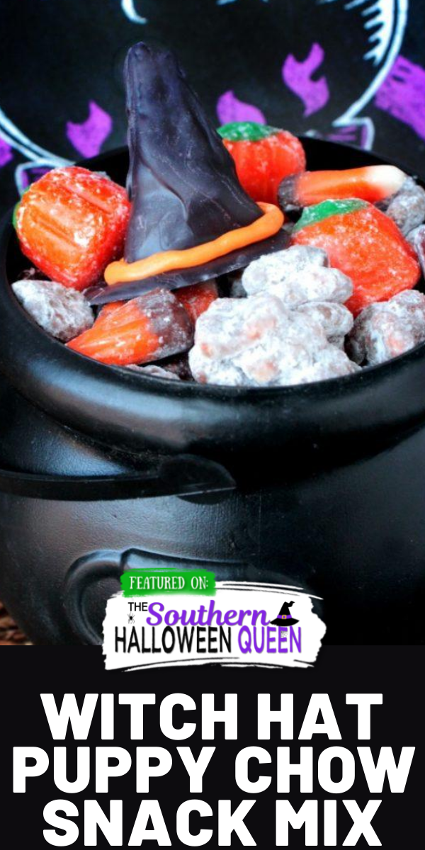 Share this spooky snack with the Halloween witches in your life! This Witch Hat Puppy Chow Snack is packed with Halloween cereal, candy and chocolate witch hats!