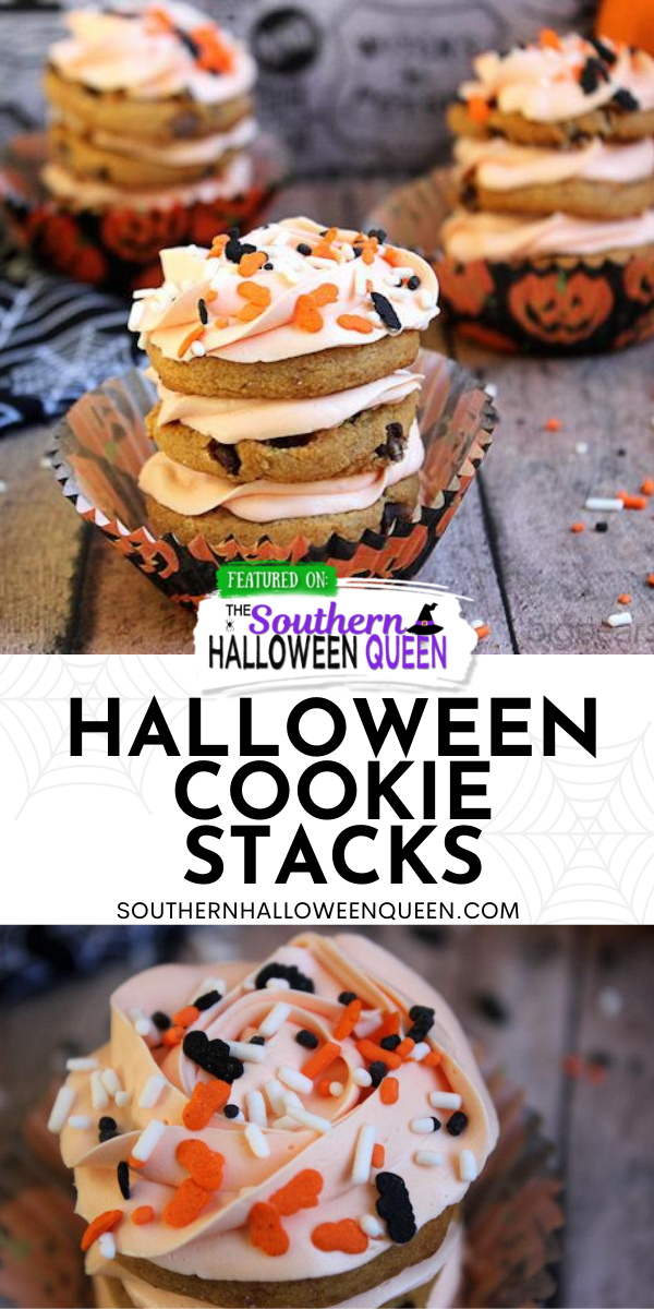 Halloween Cookie Stacks - Swirls of icing and cookie make these Halloween Cookie Stacks a quick and simple Halloween Treat!  via @southernhalloweenqueen