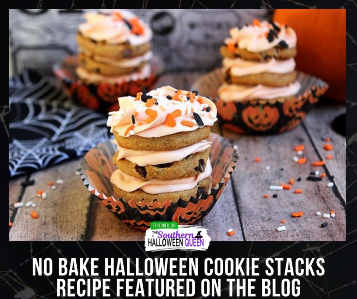 Halloween Cookie Stacks - Swirls of icing and cookie make these Halloween Cookie Stacks a quick and simple Halloween Treat!