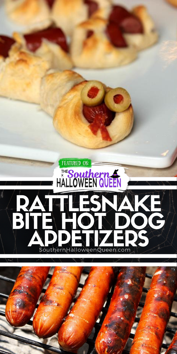 Rattlesnake Bite Hot Dog Appetizers -  Easy to make and easy to eat! Rattlesnake Bite Hot Dog Appetizers need to be front and center at your Halloween Party this year! via @southernhalloweenqueen
