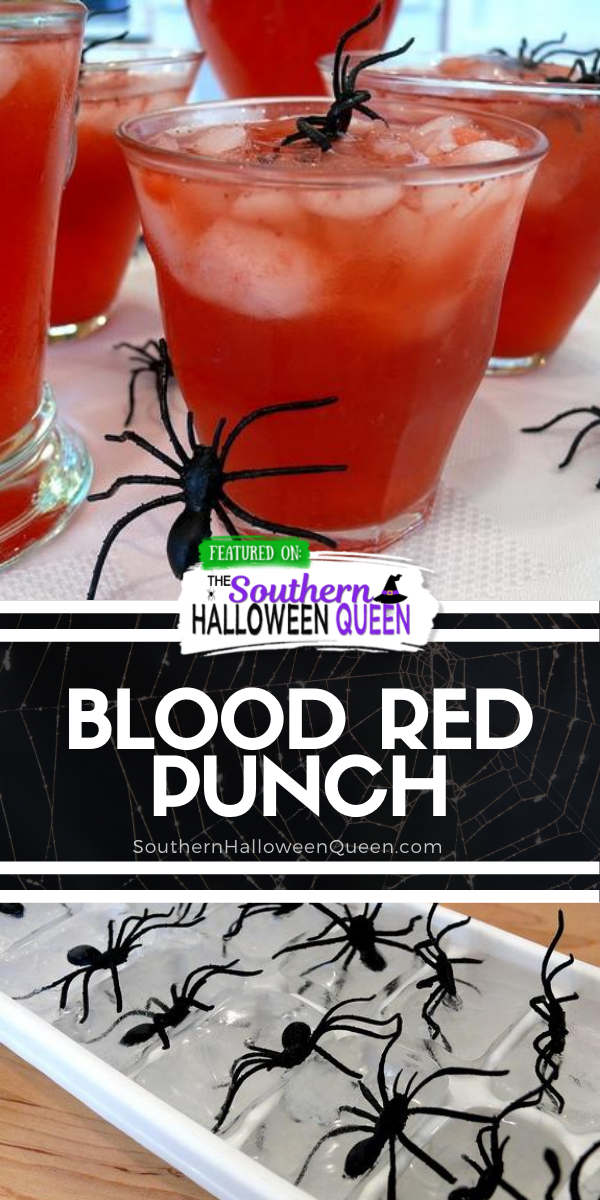Red Blood Punch - ThisFrightening Blood Red Punch is simple to make with a few ingredients and frozen fruit! Plus you can add in homemade spider ice cubes for a fun Halloween look! via @southernhalloweenqueen