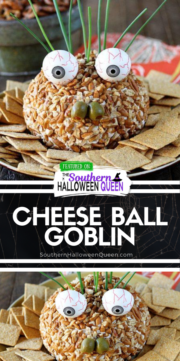 This is the perfect snack/appetizer to add to your Halloween party spread!  Turn Stacey's hugely popular Ranch Chicken Cheese Ball into this fun and festive Cheese Ball Goblin! via @southernhalloweenqueen