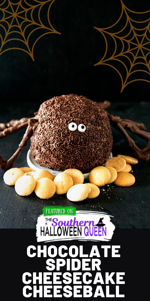 A sneaky spider is creeping up to the dessert table in the shape of this Chocolate Spider Cheesecake Cheeseball!  via @southernhalloweenqueen