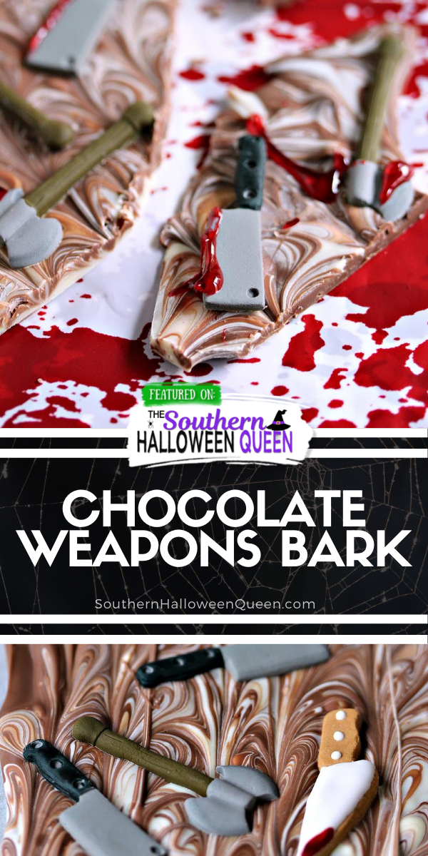 Chocolate Weapons Bark - Are chocolate cravings hitting during the zombie apocalypse? Ready to snack on a bloody chocolate treat this Halloween? This Chocolate Weapons Bark is what you need! via @southernhalloweenqueen