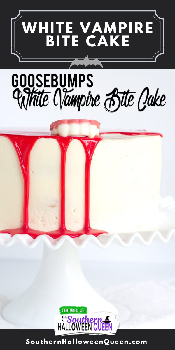 ThisWhite Vampire Bite Cakeis a tender white cake filled with pockets of red gel and covered with a white vanilla frosting. It's then topped with a blood red white chocolate ganache and chocolate vampire fangs! via @southernhalloweenqueen