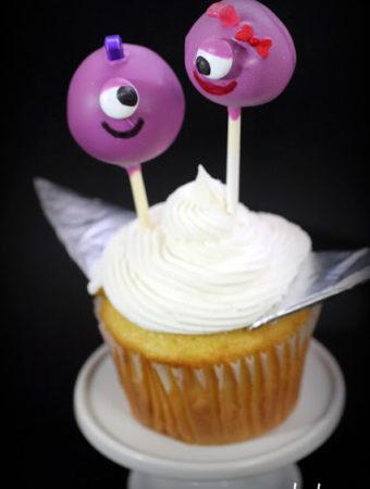 Flying Purple People Eater Cake Pops