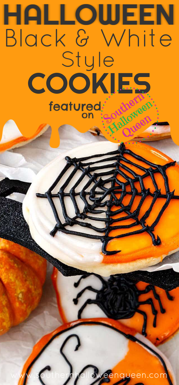 These black and white cookies get a spooky fun makeover with some orange and black icing in theseHalloween Black and White Style Cookies! There is also a secret