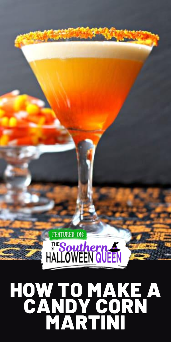 Candy Corn Martini - This candy corn martini proves Halloween isn't just for kids! Drink up, you earned it on that trick-or-treating trek through the neighborhood. via @southernhalloweenqueen