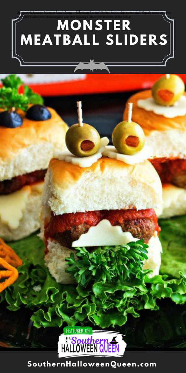 Monster Meatball Sliders- These savory little Monster Meatball Sliders are perfect for kids and customizable for everyone's taste buds! via @southernhalloweenqueen