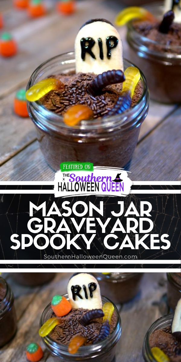 Mason Jar Graveyard Spooky Cakes - Mason Jar Graveyard Spooky Cakes are little chocolate cakes that are baked in jar s and decorated to look like cute but creepy graveyards for Halloween!  via @southernhalloweenqueen