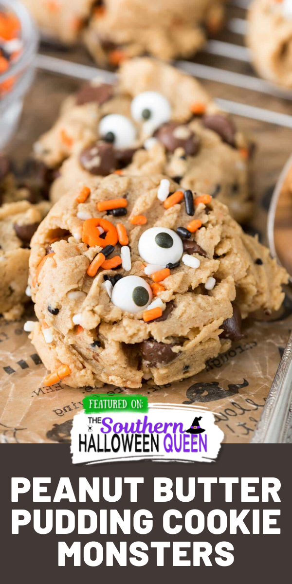 These Peanut Butter Pudding Cookie Monsters are easy peanut butter cookie recipe has pudding mix in the dough to keep them soft. I love this easy recipe, especially with chocolate chips inside! And you can turn them into monsters for Halloween! via @southernhalloweenqueen