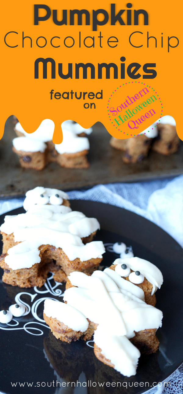 Pumpkin Chocolate Chip Mummies - These Pumpkin Chocolate Chip Mummies are simple and delicious! Plus they're a super fun snack! These start with store-bought pumpkin bread mix and come together so quickly.