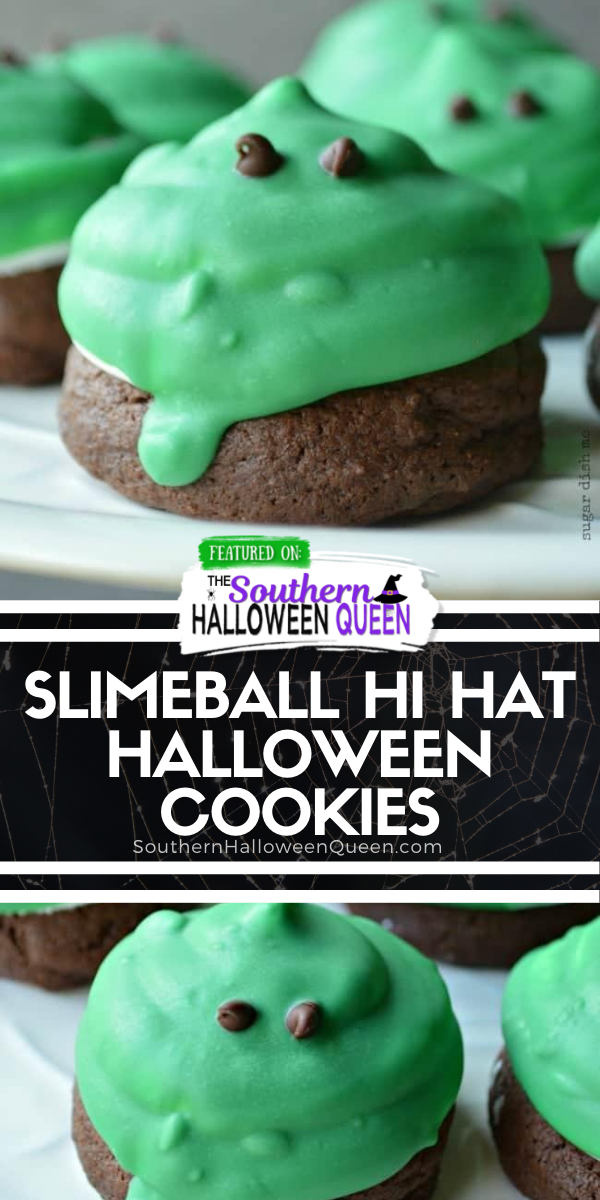 Slimeball Hi Hat Halloween Cookies - These soft cake-like chocolate cookies make the perfect base for fluffy marshmallow frosting. Slimeball Hi Hat Halloween Cookies are such a fun way to celebrate! via @southernhalloweenqueen