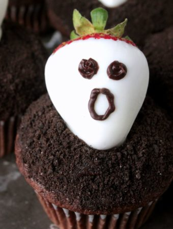 Strawberry Ghost Dark Chocolate Cupcakes