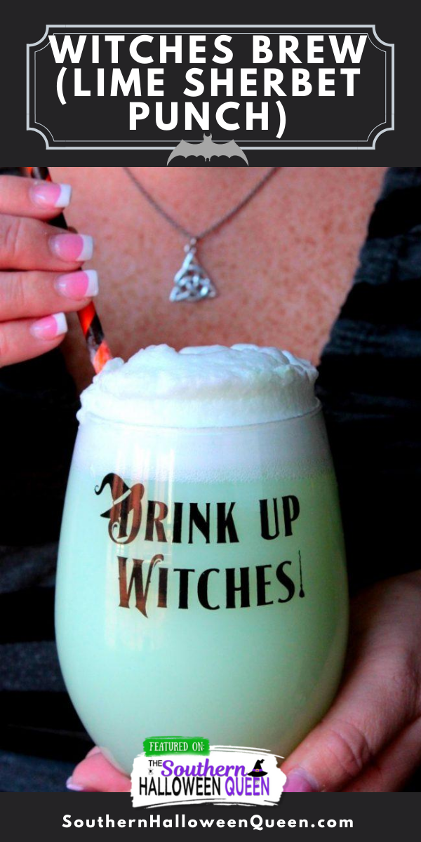 Witches Brew Lime Sherbet Punch - This punch is always a favorite at parties and we make it almost every time we have a gathering! Everyone goes back for more! Now it's time to bring this Witches Brew to the table and get ready for Halloween! Grab a glass and let's go! via @southernhalloweenqueen