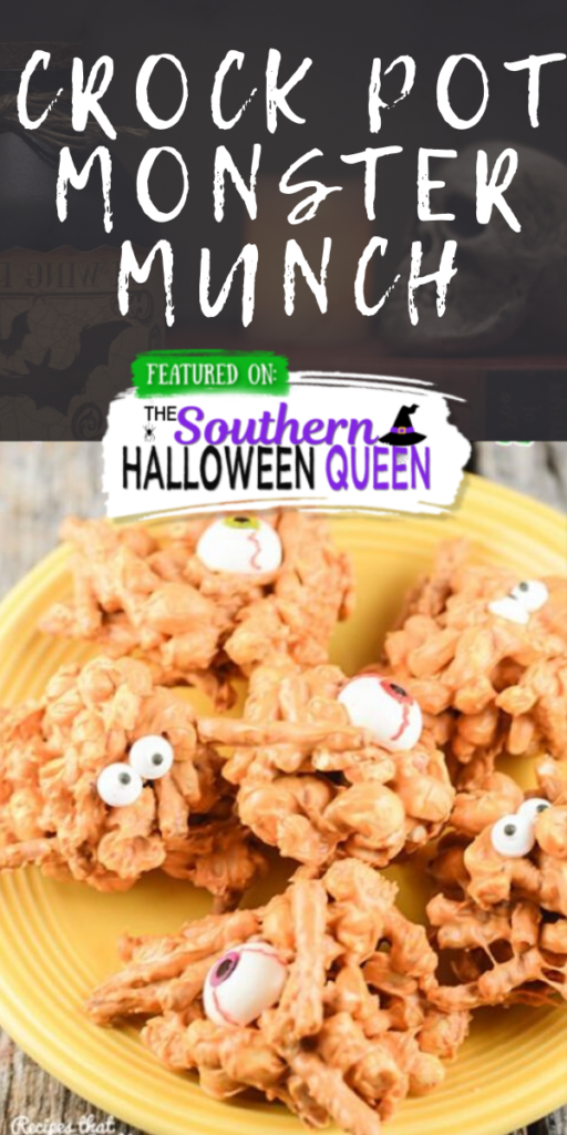 Crock Pot Monster Munch: Are you looking for a great treat to make with your kiddos for Halloween? Then you don't want to miss this Crock Pot Monster Munch!