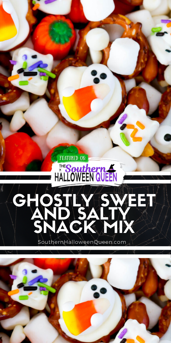 Treat your friends and family with this spooktacular Ghostly Sweet and Salty Snack Mix at your next Halloween Party! Leave the recipe as is or change it up to add whatever you like!  via @southernhalloweenqueen