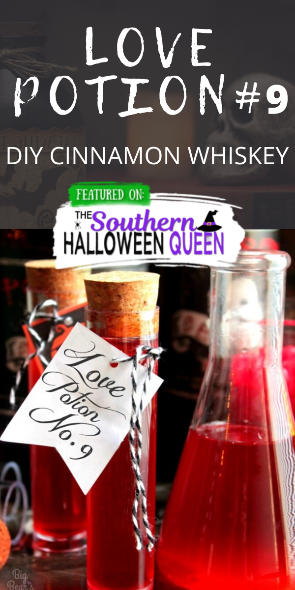 Love Potion #9 - DIY Cinnamon Whiskey - It's going to take just a few days of sitting in the fridge but with 3 ingredients you can brew up your very own Love Potion #9 - DIY Cinnamon Whiskey at home! via @southernhalloweenqueen
