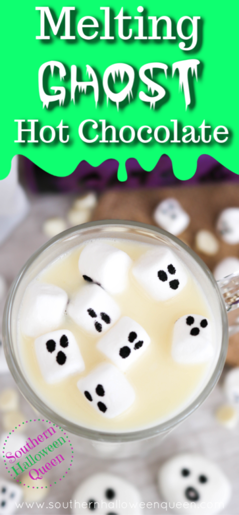 Creamy and rich homemade white hot chocolate gets a Halloween twist with little marshmallow ghost with this spooky Melting Ghost Hot Chocolate!