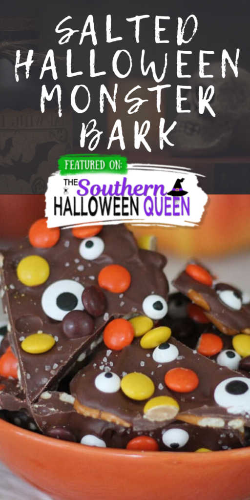 Salted Halloween Monster Bark - You'll love this each Halloween Monster Bark!Salted Halloween Monster Bark-Chocolate Candy Bark and pretzels decorated with Reeses Pieces, Monster Eyes and sprinkled with a little Sea Salt.