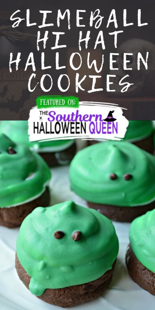 Slimeball Hi Hat Halloween Cookies - These soft cake-like chocolate cookies make the perfect base for fluffy marshmallow frosting. Slimeball Hi Hat Halloween Cookies are such a fun way to celebrate!