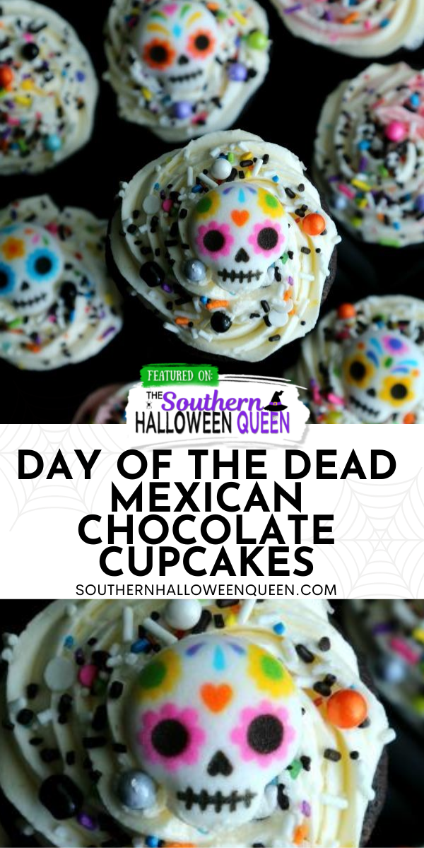Celebrate Day of the Dead with these Day of the Dead Mexican Chocolate Cupcakes. What sets it apart from a regular chocolate cupcake is the Mexican chocolate. via @southernhalloweenqueen