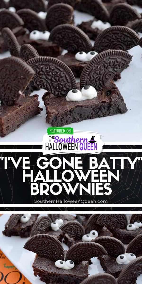 """""""I've Gone Batty"""" Halloween Brownies are chocolate brownies with a super easy bat decoration that anyone can make! via @southernhalloweenqueen"""