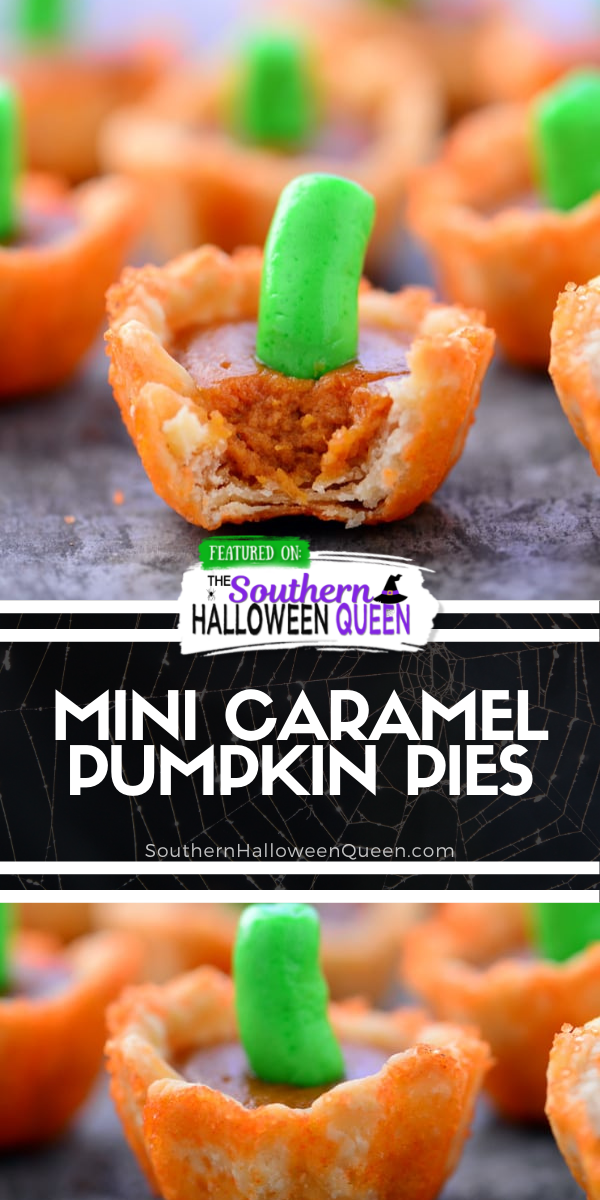 Pumpkin Pie Bites | These mini pumpkin pies look like mini pumpkins and are perfect for Halloween and Thanksgiving! via @southernhalloweenqueen