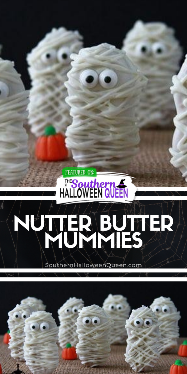 Nutter Butter Mummies - Not only are these little Nutter Butter Mummies cute, but they are incredibly easy, too! All are a few ingredients and you'll have some neat treats for your little ghosts and goblins in no time. via @southernhalloweenqueen