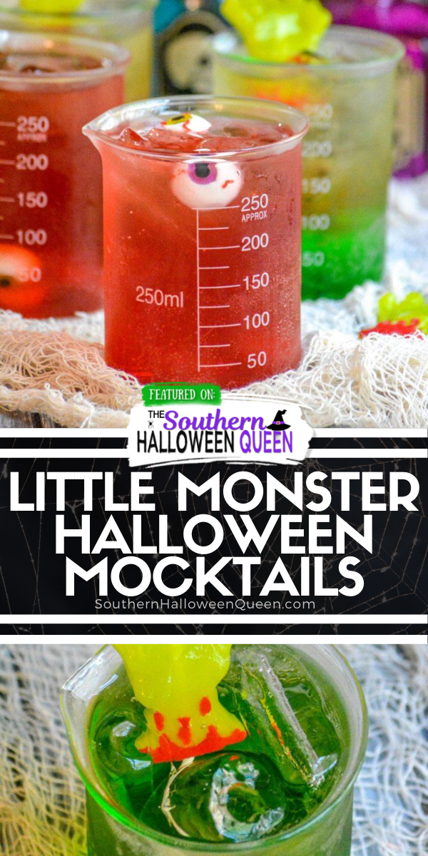 Do you want your Halloween party to set the bar and impress all the guests, then you want our recipes for Little Monster Halloween Mocktails. A sweet, layered, festive drink- these will appeal to all of your guests! via @southernhalloweenqueen