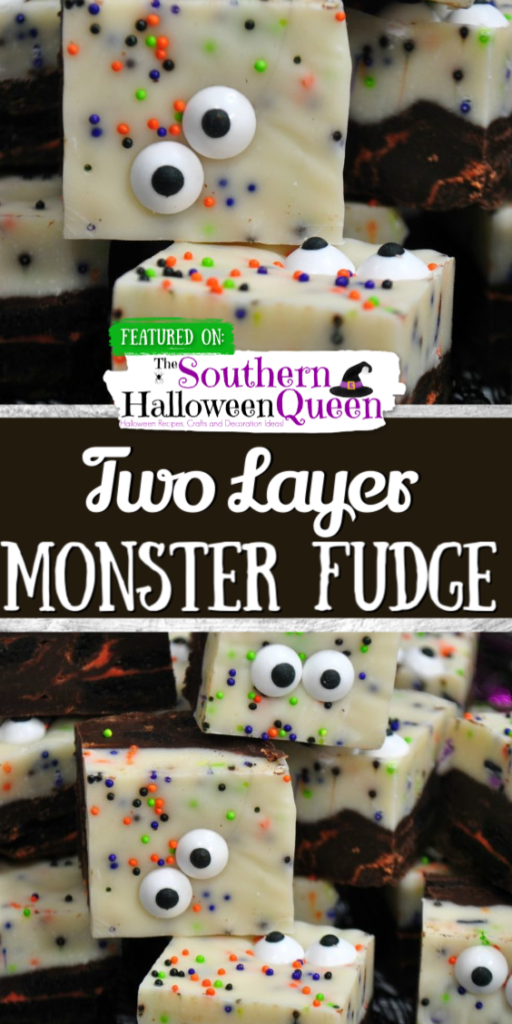Halloween will be here before you know it. Get your little ghouls & goblins in the spirit of things with a big batch of this quick & easy Two Layer Monster Fudge. It's an adorably spooky dessert that will have all the monsters (old & young) crowding around the treat table.