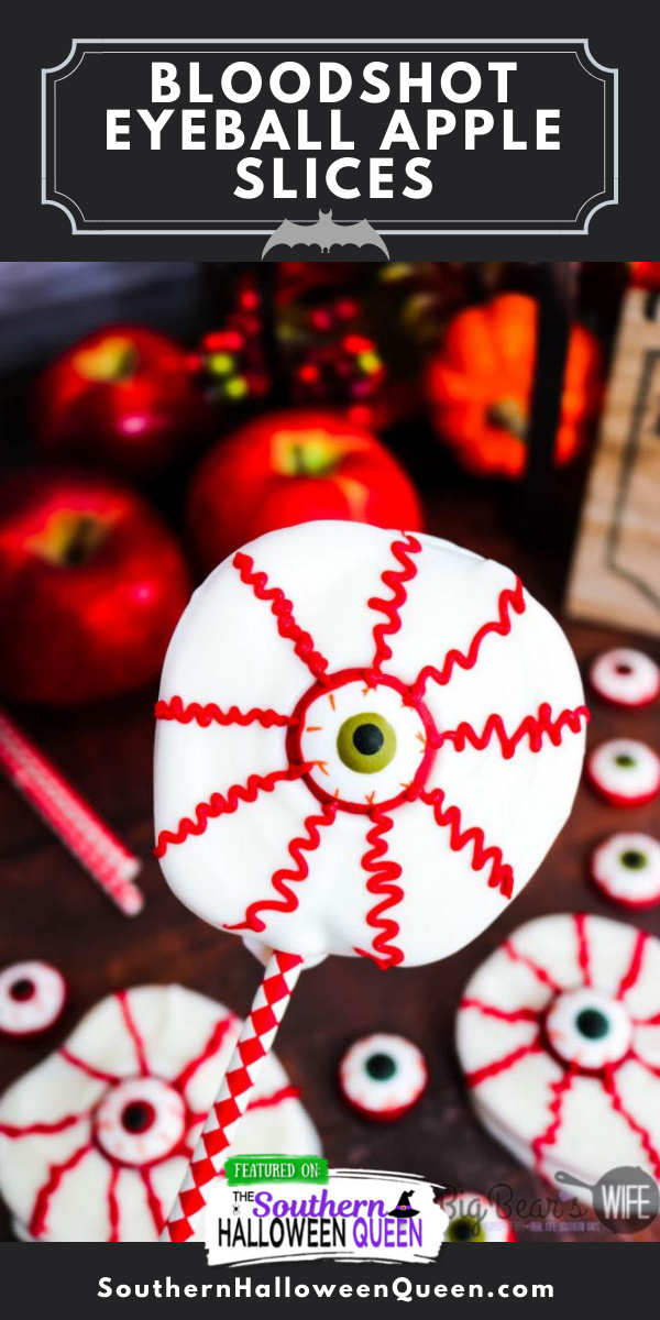 Bloodshot Eyeball Apple Slices - Love Chocolate Apples but don't want to dip tons of them for a party? These Bloodshot Eyeball Apple Slices are the answer to your problems! Just as tasty and oh so spooky when decorated to look like bloodshot eyeballs! via @southernhalloweenqueen