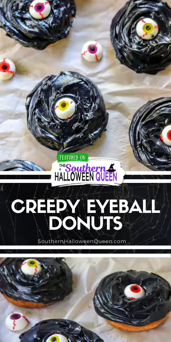 Creepy Eyeball Donuts - The vanilla donuts have been been given a Halloween makeover and transformed into Creepy Eyeball Donuts that are sure to keep an eye on your party guests! via @southernhalloweenqueen