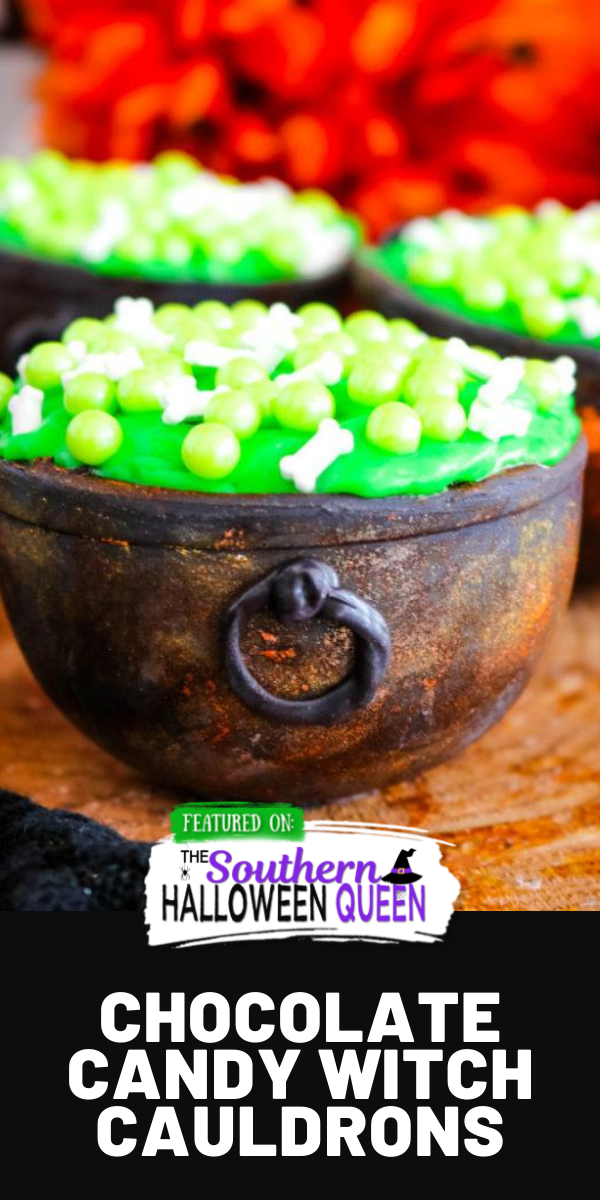 These Chocolate Candy Witch Cauldrons can hold all kinds of treats for your wicked little witches and warlocks! These cauldrons are filled with brownie bites, icing and topped with a witches brew of bone and bubble sprinkles! via @southernhalloweenqueen