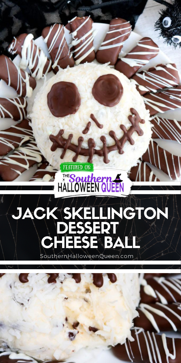 Jack Skellington Dessert Cheese Ball -  In love with The Nightmare Before Christmas and Dessert? Well this Jack Skellington Dessert Cheese Ball is for you! The Pumpkin King is transformed into a frightfully tasty cheese ball for the perfect Halloween party treat! via @southernhalloweenqueen