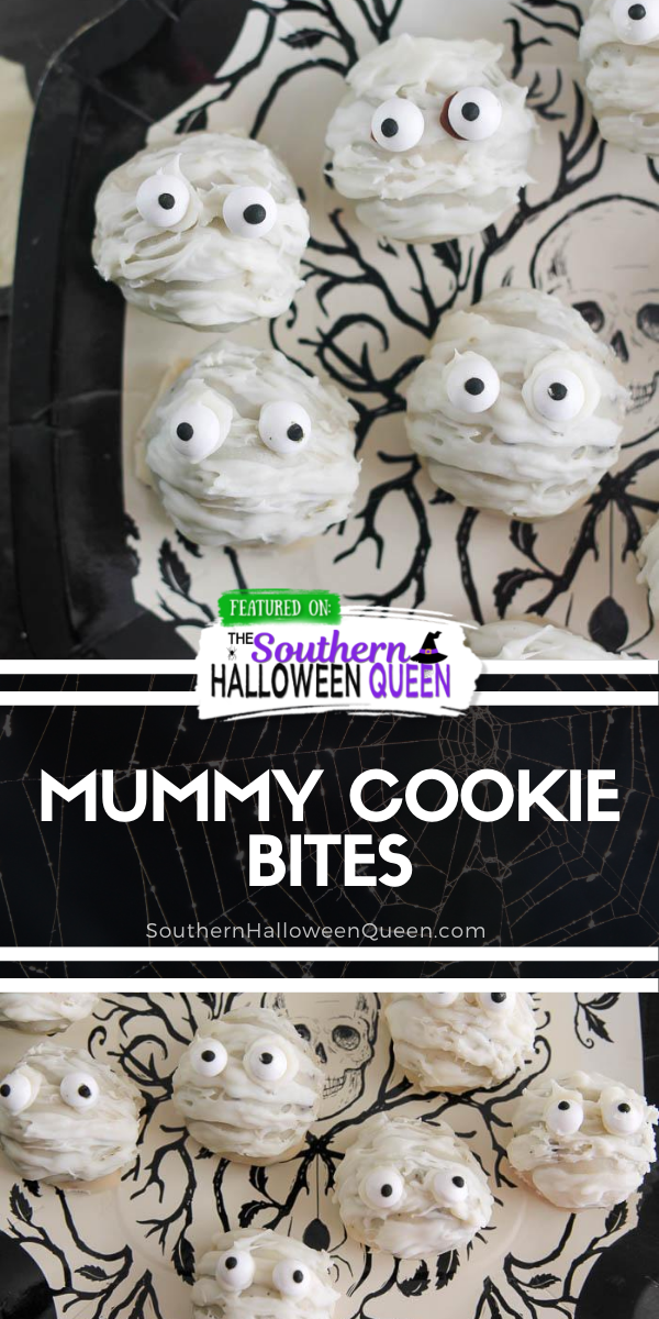 Mummy Cookie Bites - Whip up some of these super easy Mummy Cookie Bites for your Halloween party! Don't worry, you don't even have to turn the oven on for these tasty bites!! via @southernhalloweenqueen