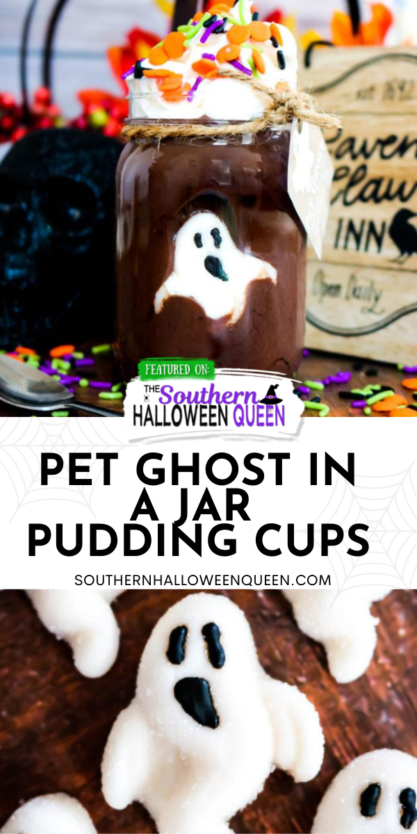 Pet Ghost in a Jar Pudding Cups - You better eat this dessert up fast before your pet ghost vanishes! These Pet Ghost in a Jar Pudding Cups have a friendly gummy ghost hiding in delicious chocolate pudding that makes the perfect Halloween treat! via @southernhalloweenqueen
