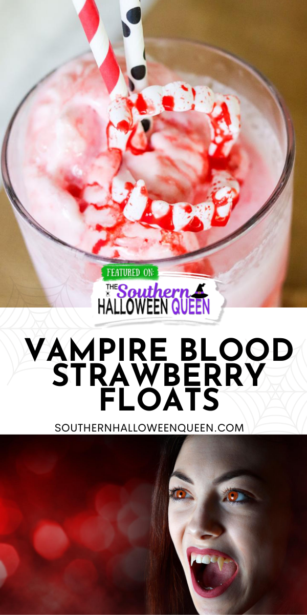 These Vampire Blood Strawberry Floats aren't anything to be scared of! They're homemade floats with edible blood which makes them perfect for Halloween! via @southernhalloweenqueen