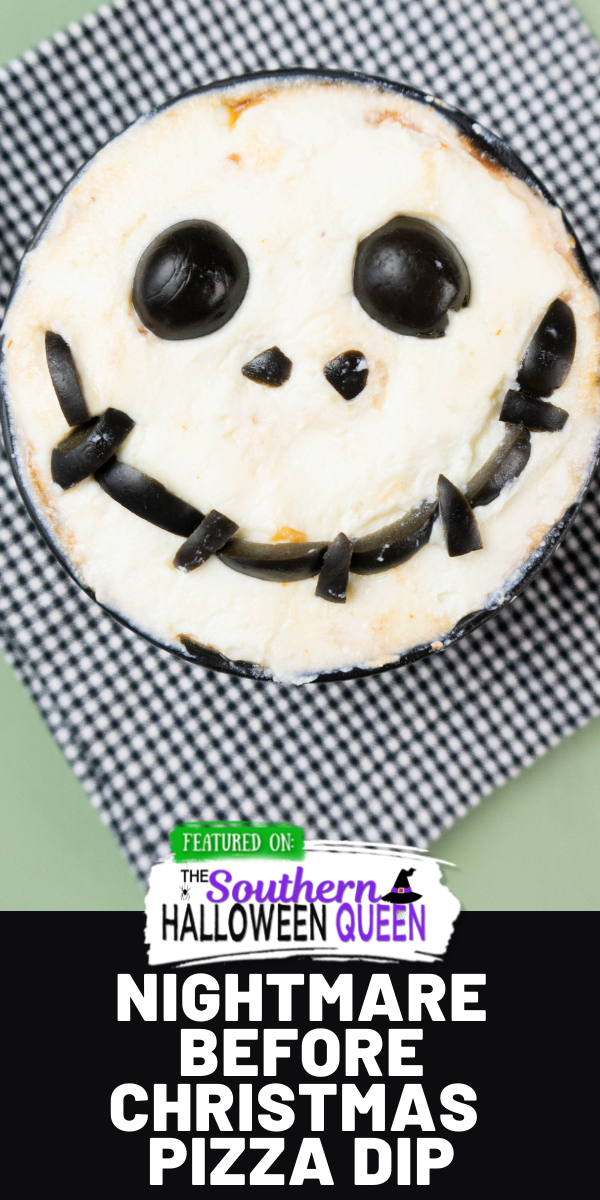 Pizza sauce, pepperoni, ricotta cheese and black olives make up this fun Nightmare Before Christmas Pizza Dip for Halloween or anytime of year! via @southernhalloweenqueen